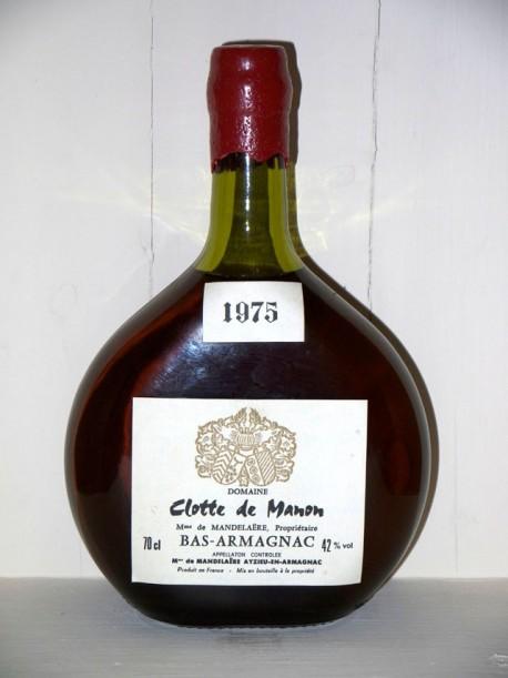 Bas Armagnac 1975 Domaine Clotte de Manon propriétaire Mme de Mandelaêre