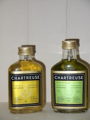 Chartreuse ancien Chartreuse Verte et jaune en flasc Années 80