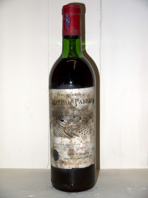 Vins anciens Haut-Médoc Château Pabeau 1969