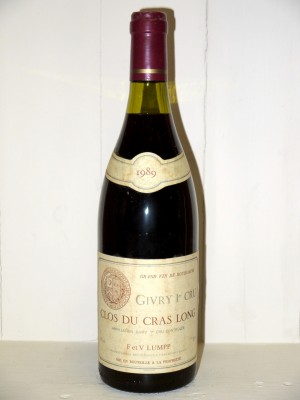 "Grands crus Autres appellations de Bourgogne Givry 1er Cru ""Clos du Cras Long"" 1989 Domaine Lumpp"