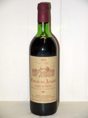 Grands crus Bordeaux Château des Arnauds 1975